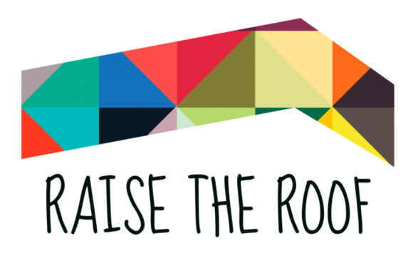 "Austin Creative Reuse ""Raise the Roof"" Fundraiser Logo"